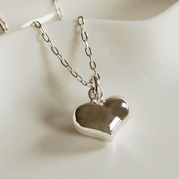 Silver 14mm Heart Necklace