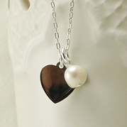 Silver Flat Heart Necklace With Pearl Drop