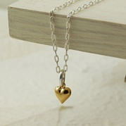 Silver Tiny Gold Heart Necklace