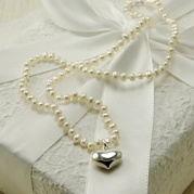 Delicate White Pearl Necklace With 14mm Heart Charm