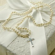 Delicate White Pearl Necklace With Cross Charm
