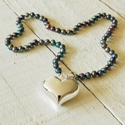 Classic Black Pearl Necklace With 30mm Heart Charm