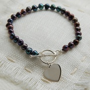 Classic Black Pearl Bracelet With Flat Heart Charm (Small)