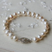 Child's White Pearl Bracelet With Vintage Clasp
