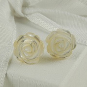Carved Mother Of Pearl Stud Earrings