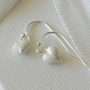 Tiny Frosted Heart Drop Earrings