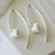 Tiny Frosted Heart Wire Earrings