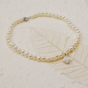 Child's Delicate White Pearl Bracelet With Frosted Heart Charm