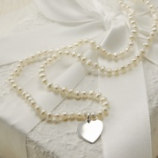 Child's Delicate White Pearl Necklace With Flat Heart Charm