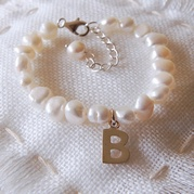 Child's Extending White Pearl Bracelet With Initial Charm