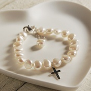 Child's Extending White Pearl Bracelet With Cross Charm