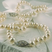 Child's White Pearl Necklace With Vintage Clasp