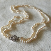 Delicate White Double Strand Pearl Necklace
