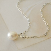 White Pearl Drop Necklace (Trace Chain)