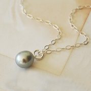 Grey Pearl Drop Necklace (Trace Chain)