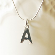 Silver Initial Necklace (Snake Chain)