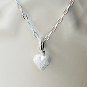 Silver Tiny Frosted Heart Necklace