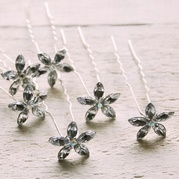 Diamante Flower Hair Pins (set of 6)
