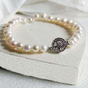 Classic White Pearl Bracelet With Vintage Style Round Clasp