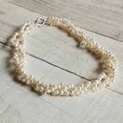 Classic White Twisted Triple Strand Pearl Necklace