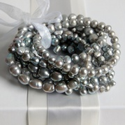 Set of Eight Stretch Grey Pearl Bracelets (Assorted Designs)