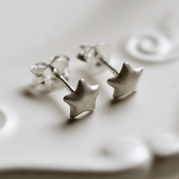 Brushed Finish Star Stud Earrings