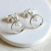 Pearl and Loop Stud Earrings