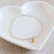 Tiny Silver Bead Bracelet with 6mm Gold Heart Charm