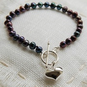 Classic Black Pearl Bracelet With 14mm Heart Charm