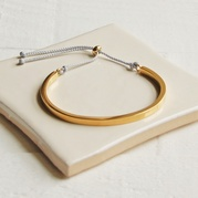 Gold Cuff Bangle with Grey Cord