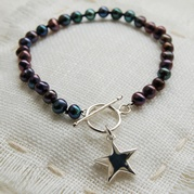 Classic Black Pearl Bracelet With Star Charm