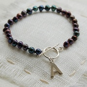 Classic Black Pearl Bracelet With Initial Charm