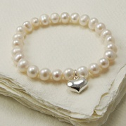 Stretch White Pearl Bracelet With 14mm Heart Charm