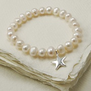 Stretch White Pearl Bracelet With Star Charm
