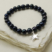 Stretch Black Pearl Bracelet With Star Charm
