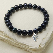 Stretch Black Pearl Bracelet With Initial Charm