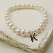 Stretch White Pearl Bracelet With Initial Charm